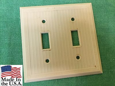 Vintage Leviton 2 Toggle Switch Plate Cover Art Deco Style Bakelite Ivory USA