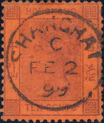 "HONG KONG used in CHINA - 1899 - SG Z801 "" SHANGHAI "" date stamp on 10c (SG38)"
