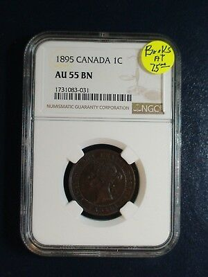 1895 CANADA ONE CENT NGC AU55 BN 1C Coin PRICED TO SELL NOW!