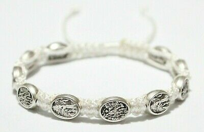 St. Michael the Archangel Guardian Angel bracelet on White Cord Handmade