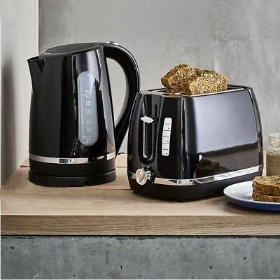 2 Slice Toaster or 1.7L Kettle Black Set Water Boiler Automatic Cordless Combo