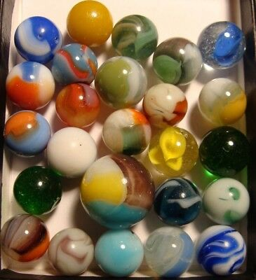 25 Used Antique Vintage Marbles Collect Old Time Display Arts Crafts Toys Decor