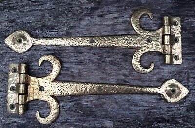 """Large Heavy Hammered Antique Brass Decorative Door Gate Hinges 13.25"""" Long"""