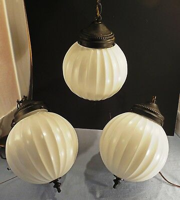 """Globe swag lamps lot of 3 ribbed milk glass vintage 8 1/2"""" wide"""