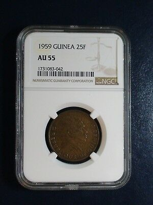1959 GUINEA TWENTY FIVE FRANCS NGC AU55 25F Coin PRICED TO SELL NOW!