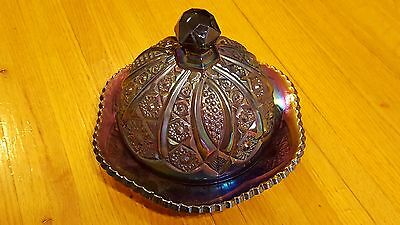 Vintage 2pc Purple Amethyst Carnival Glass Round Covered Dome Butter Cheese Dish