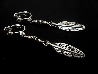 A Pair Of Dangly Tibetan Silver Feather Clip On Earrings. New.