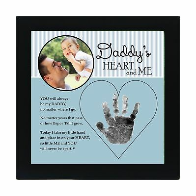 The Grandparent Gift Dad Handprint Frame: Daddy's Heart and Me Blue Black