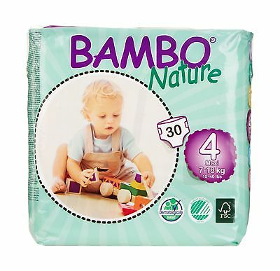 Bambo Nature Premium Baby Diapers Maxi Size 4 30 Count (Pack of 6) 180