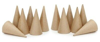 "Lot of 12 Cone Shape 4"" - Paper Mache - Ready to Paint -Ice cream cone ornaments"