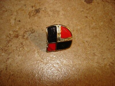 Art deco red and black metal button