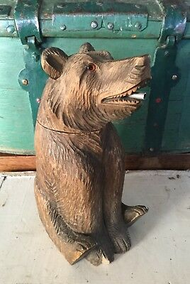 Antique Black Forest Bear Decanter, Carved Walnut, Bottle, Austrian, german