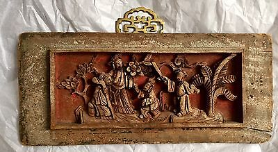 Original Antique Chinese Hand-Carved Natural Wood Wall Plaque Panel