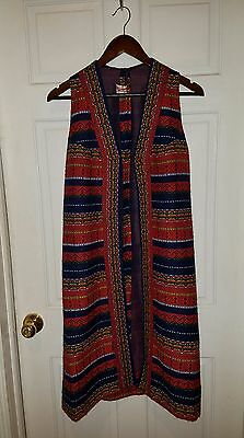 vtg 70s womens duster maxi long vest woven tapestry indian ethnic gilet festival