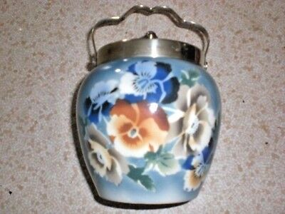 ANTIQUE PORCELAIN Blue ginger pot with floral accents with lid & handle Box 219