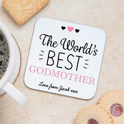 Personalised Sentimental Worlds Best Godmother Coaster Mat Birthday Gift Present