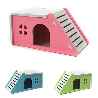 Pet Hamster Mouse Flat House Cage Bed With Ladder Playground Exercise Toys