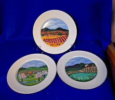 "(3) Block Spal Plates 1993 Portugal 8"" All Different Napa Valley Sara Barnes"