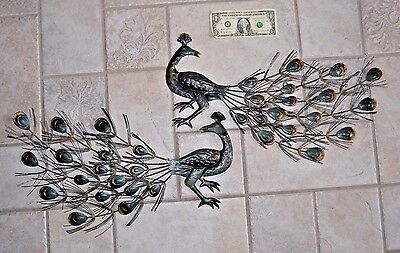 2 Vintage Metal Peacock Wall Art Tin Bird Sculptures Hanging Mid Century  Modern