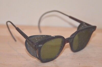 Vintage Welding Safety Glasses Motorcycle Aviator Steam Punk green mesh shield