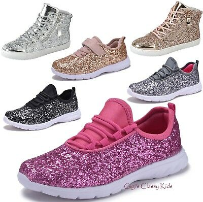 Fashion Youth Kids Girls Sequins Glitter Sneakers Lace Up Tennis Shoes High Top