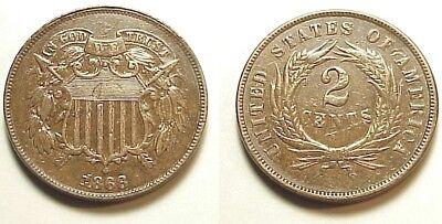 Sharp A/u 1868 Two Cent Piece-Sharp Strike & Eye Appeal! Free Shipping!