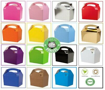 10 x Childrens Kids Plain Coloured Carry Food Meal Birthday Party Loot Bag Boxes