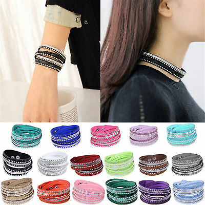 Men Women Fashion Punk Jewelry Leather Crystal Wrap Cuff Bangle Charm Bracelet