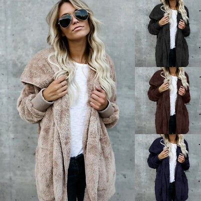 Womens Faux Fur Parka Jacket Cardigan Winter Warm Hooded Hoodie Coat Outwear AU