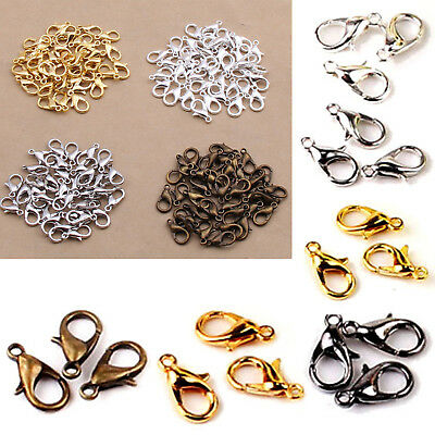 Fsp 50PCS 12mm Silver Plated Lobster Clasps Claw Jewelry Fastener Hook Finding