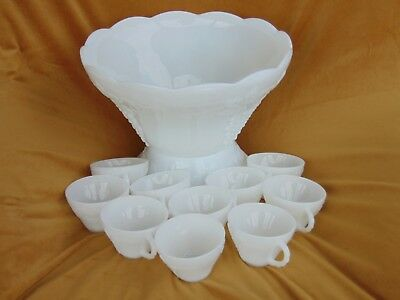 Vintage Anchor Hocking White Milk Glass Colony Harvest Punch Bowl /Base &10 Cups