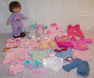 """Fisher Price Little Mommy Baby Doll + Clothes Lot Dress Sleepers Bottle 14"""""""