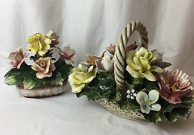 2 Italian CAPODIMONTE Porcelain Flower Baskets Large & Small Hand Made & Painted