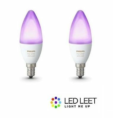 2 x Philips Hue Candle Color and White Ambiance 16mio Colour E14 6W Candle Bulb