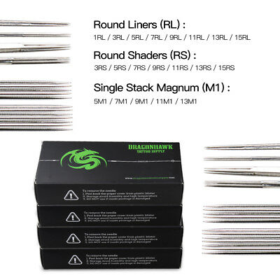 200 pc Sterile Tattoo Needle Kit Steel Round Liner Shader Varied Sizes Supplie H