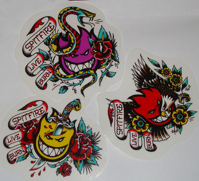 SPITFIRE WHEELS Skateboard Sticker - Tattoo Flash - Flame Head Logo - Assorted