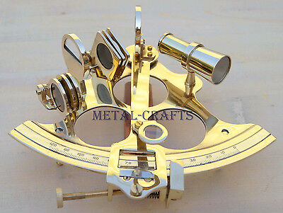 """Navigation Solid Brass Sextant Ship GPS Astrolabe Educational Working Sextant 6"""""""