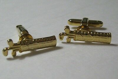 Vintage Hickok USA Figural Brass Golf bag with Clubs pair Cufflinks Great cond.