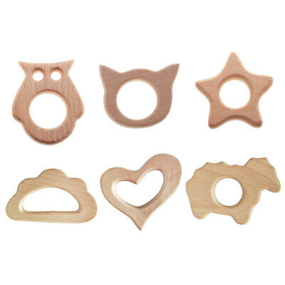 6pcs Wooden Animal Shape Baby Teether Teething Toys Pacifier Clip Pendant