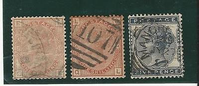 Great Britain: 2 scott 87, plate 13 and 14, used, F, Cat 300. GB162