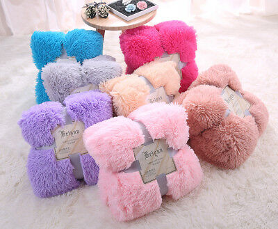 Infant Child Soft Faux Fluffy Fur Long Pile Shaggy Cover Bed Blanket 1.3*1.6m