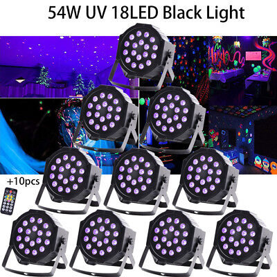 10-Pack 18LED 54W UV PAR CAN Black Light DMX  Stage Lighting Disco Bar DJ Remote