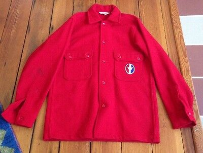 Vintage Boy Scouts of America Official Jacket Mens 38 S-M RED Wool Leader BSA