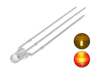 S338 - 20 Piece Duo LEDs 3mm Bi-Color Yellow Red 3-Pin Light Changing