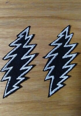 Grateful Dead Patches, Lot of 2, Embroidered Felt Patches, Sew on