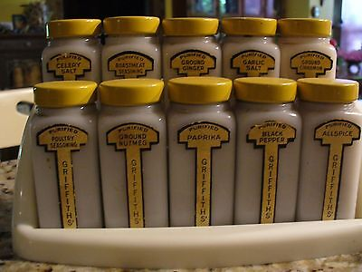 Early Art Deco Griffiths Spice Set of 10 Milk Glass Jars Metal Lid Paper labels
