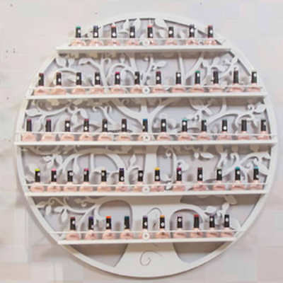 White Metal Wall Mounted Nail Polish Rack 5 Tiers Holder Display Cosmetic Shelf