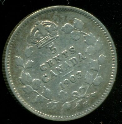 1903H Canada, Stirling Silver 5 Cent, King Edward VII, Small H