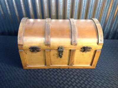 Antique Doll Trunk Dome Top Slatted Wood & Metal Humpback Inserts Child's Estate