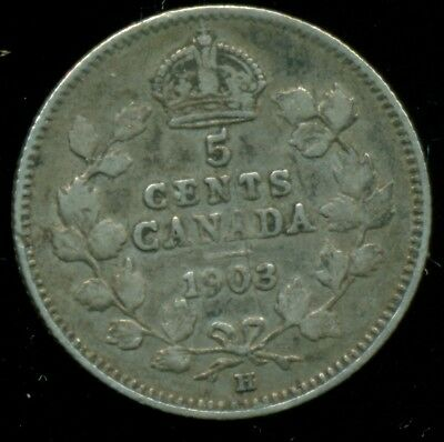 1903H Canada, Stirling Silver 5 Cent, King Edward VII, Large H